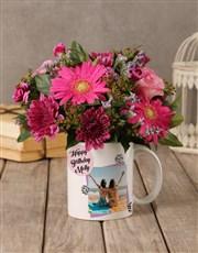 Personalised Birthday Flowers in a Mug
