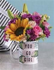 You Go Girl Floral Mug