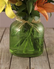 Mixed Lilies in Green Vase