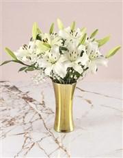 Asiflorum Lilies In Gold Vase