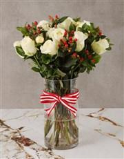 Tis The Season White Rose Bouquet