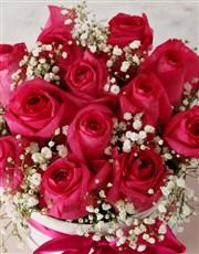 Stunning Cerise Rose Hat Box