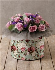 Lilac Roses in Floral Hatbox