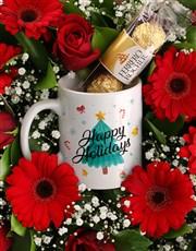 Happy Holidays Floral Mug Crate