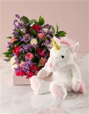 Bright Roses Bouquet and Unicorn Plush Toy