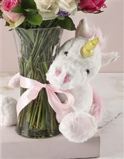 Baby Girl Floral Arrangement and Unicorn Plush