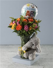 Welcome Baby Floral Arrangement with Elephant Plus