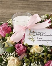 Pink Roses and Green Carnations Sympathy Cross