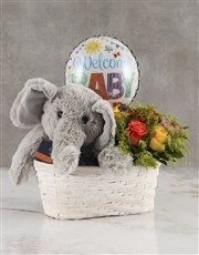 Mixed Roses Welcome Baby Basket