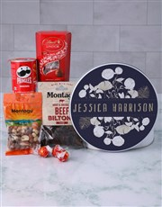 Personalised Blue Floral Gourmet Tin