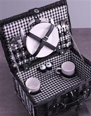 Personalised InitialsWreath Black Picnic Basket