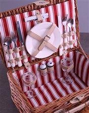 Personalised InitialsWreath Red Picnic Basket