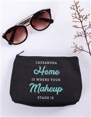 Personalised Makeup Stash Black Cosmetic Hamper