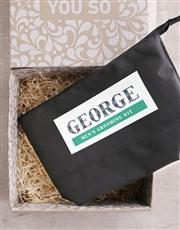 Personalised Mens Black Grooming Wash Bag Gift