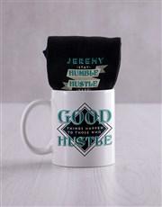 Personalised Hustle Socks And Mug