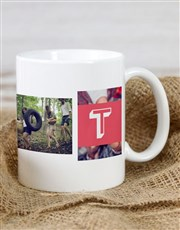 Personalised Red Monogram Photo Mug