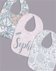 Personalised Set of Soft Floral Bibs