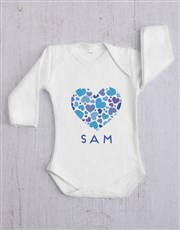 Personalised Blue Hearts Baby Gift Set