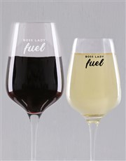 Personalised Boss Lady Fuel Wine Glass