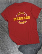 Personalised Own Message Stamp Red T Shirt