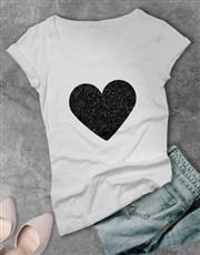 Personalised Glitz Name Heart Ladies White T Shirt