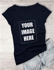 Personalised Own Image Navy Ladies T Shirt