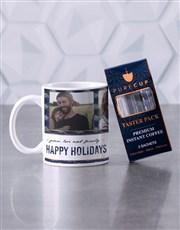 Personalised Happy Holidays Christmas Mug