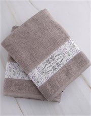 Personalised Vintage Stone Towel Set