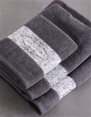Personalised Vintage Charcoal Towel Set
