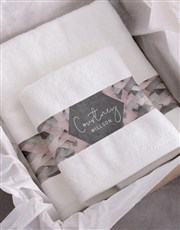 Personalised Geometric Print White Towel Set