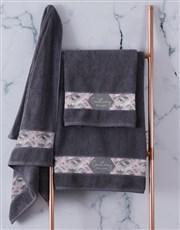 Personalised Geometric Print Charcoal Towel Set