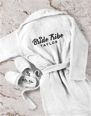 Personalised Bride Tribe Gown and Slipper Set
