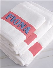 Personalised Bold Print White Towel Set