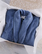 Personalised Bold Print Blue Fleece Gown