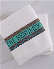 Personalised Afro Geometric White Towel Set