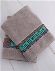 Personalised Afro Geometric Stone Towel Set