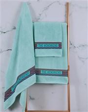 Personalised Afro Geometric Duck Egg Towel Set