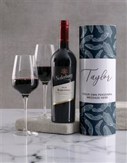 Personalised Feather Blues Wine Tube