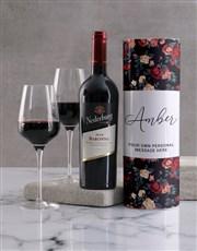 Personalised Vintage Rose Wine Tube