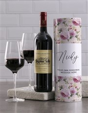 Personalised Peony Wine Tube