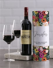 Personalised Playful Floral Wine Tube