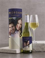 Personalised Modern Blue Geo Wine Tube