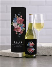 Personalised Manila Floral Wine And Tube Gift