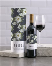 Personalised Blue Floral Wine And Tube Gift