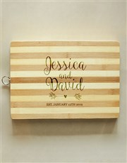 Personalised Couples Wooden Chopping Board
