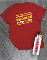 Personalised Domination Waterbottle And T Shirt