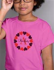 Personalised Hearts Kids T Shirt