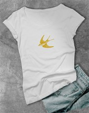 Personalised Swallow Graphic Ladies T Shirt