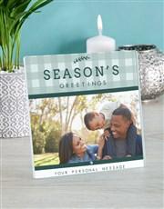 Personalised Seasons Greetings Glass Tile