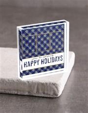 Personalised Happy Holidays Acrylic Block